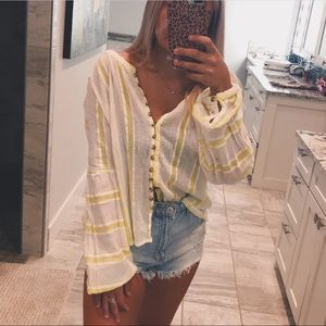 free people yellow & white striped button up top